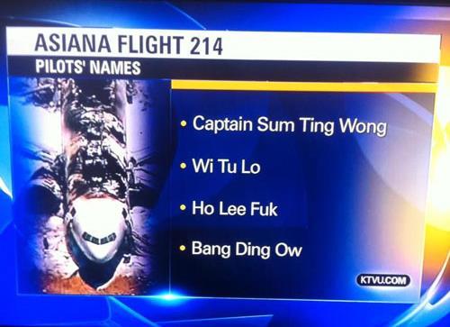 Nom de l'équipage Asiana 214