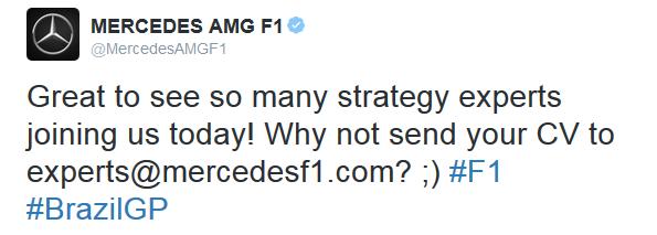 Tweet Mercedes stratégie 2015 Interlagos