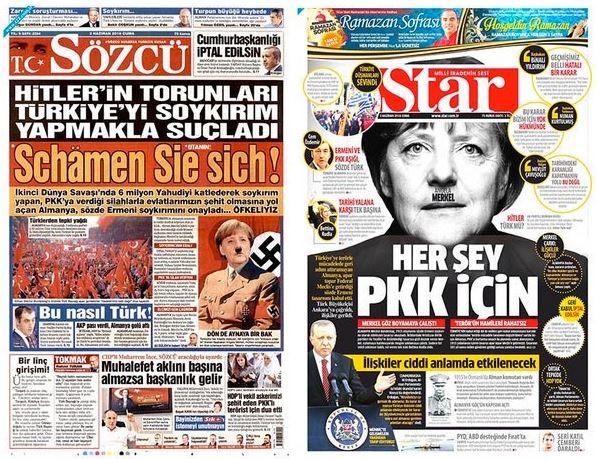 Anglea Merkel est Hitler pour les turcs