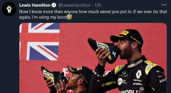 Hamilton tweete au sujet du shoey
